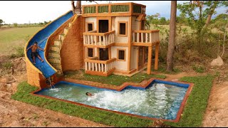 Build  Water Slide Park  Into Underground Swimming Pool and Swimming pool Top 3 Story Design House