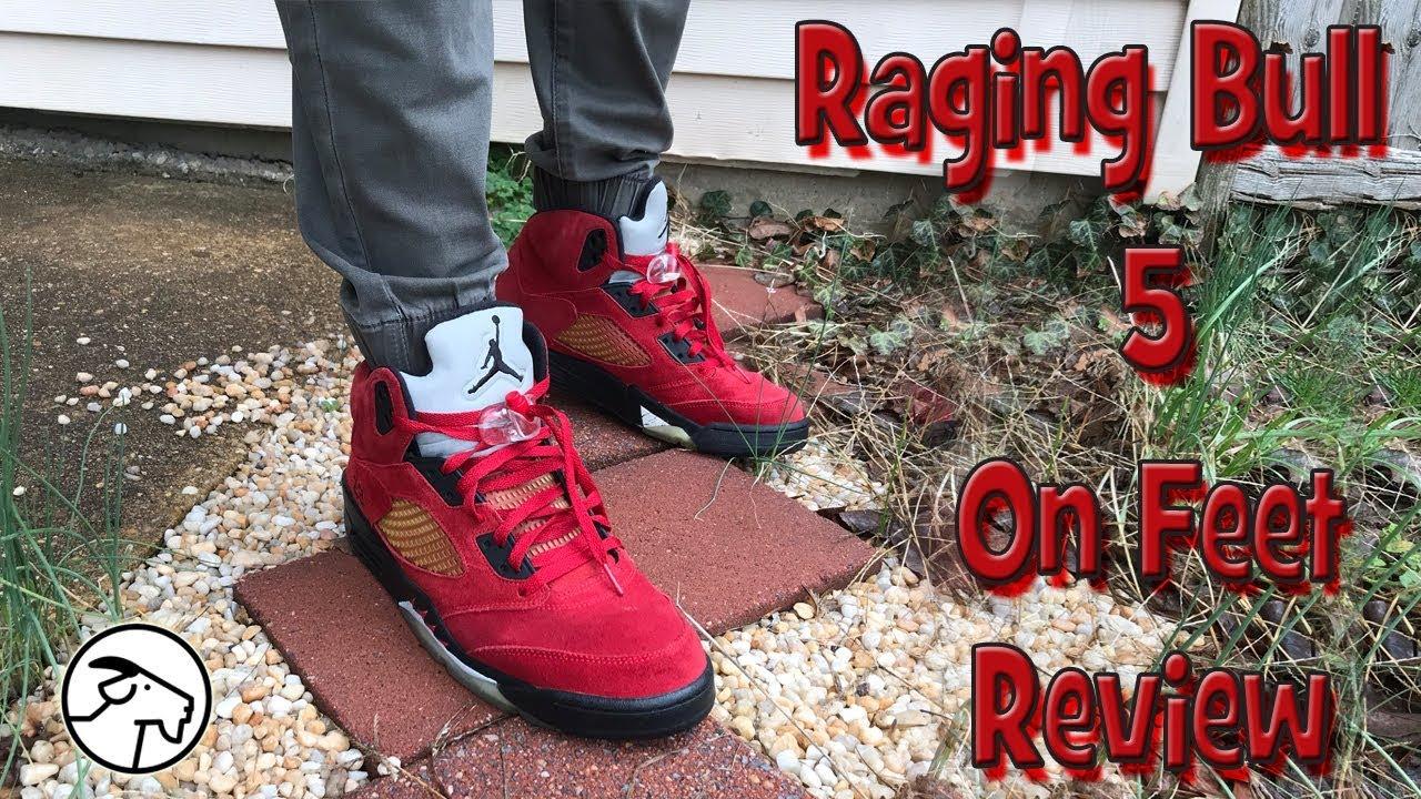 32581b87eee334 Jordan Retro 5 Raging Bull On Feet Review - YouTube