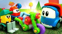 Spielzeug Video auf Deutsch. Leo und seine Freunde bauen ein Motorrad. Spielspaß mit Leo