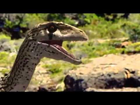 Utaraptor attacking small Iguanodon .