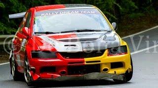 Mitsubishi Evolution and Subaru Impreza Maximum Attack Mistake and Crash at Hillclimb Rasnov 2016