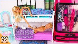 인형놀이 드라마 이층 침대 아침 일상 밀착중계 영상예요 ! 주방 장난감 놀이 공주 드레스 옷입히기 Barbie & Ken Bunk Bed Morning Routine | 보라미TV
