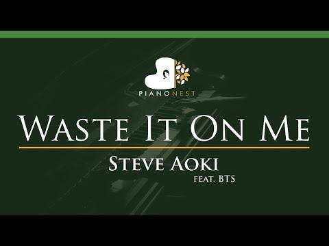 Steve Aoki - Waste It On Me Feat. BTS - LOWER Key (Piano Karaoke / Sing Along)