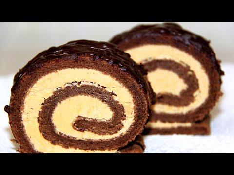 Шоколадный рулет со сгущенкой.  Простой рецепт быстрого Шоколадного рулета.