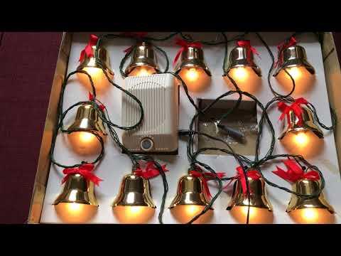 Vintage brass Christmas musical bells with lights 21 Christmas carols