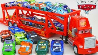 Disney Cars Mack Hauler Launching Trailer with Next Gens and Veteran Piston Cup Racers