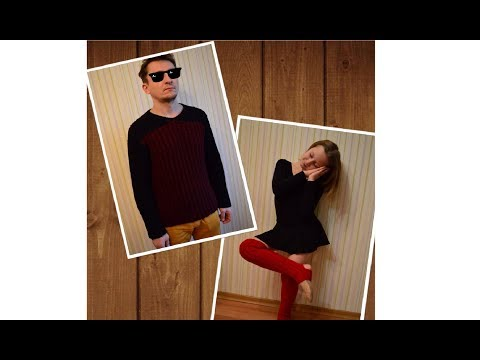 Мужской пуловер, гетры для танцев спицами.