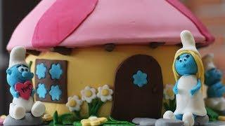 Tort Smerfy, Smurf House Cake, Domek Smerfetki,