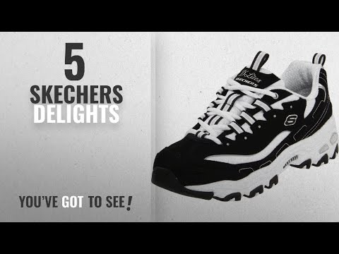 Top 5 Skechers Delights [2018]: Skechers Sport Women's D'Lites Lace-Up Sneaker, Black/White, 9 M US