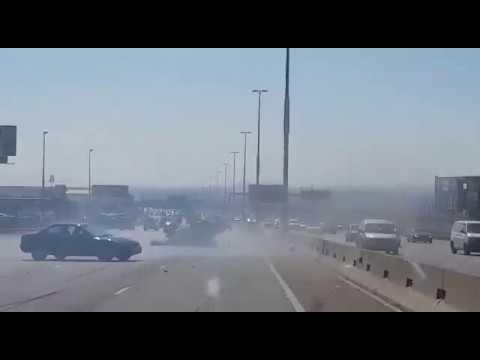 South African car crash!!!! (Criminal gets trapped)