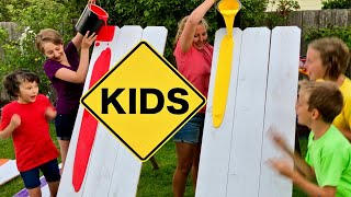 Learn Colors! Rainbow Paint Challenge with Sign Post Kids!
