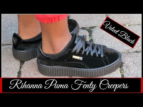 hot sale online 171aa 01534 RIHANNA PUMA FENTY CREEPERS VELVET BLACK REVIEW + TRY ON ...