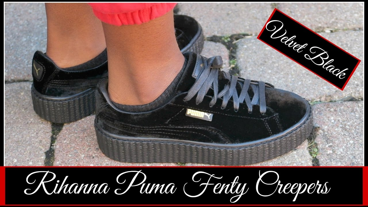 9fa5e22fd79 RIHANNA PUMA FENTY CREEPERS VELVET BLACK REVIEW + TRY ON - YouTube
