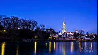 82 Time Lapse Ulm Church Tower Night | Zeitraffer Ulmer Münster Ulm Nacht Donau Wasser Reflektion 4K