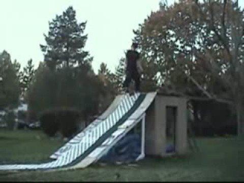 Backyard snowboarding in Summer - YouTube