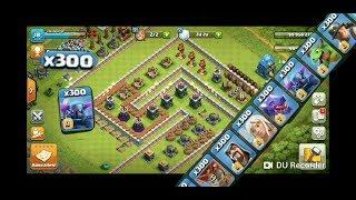 ALL TROOPS VS TROLL BASE clash of clans ( troop challenge) 300X troops