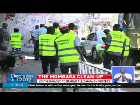 Volunteers clean up Mombasa to rid it of campaign posters