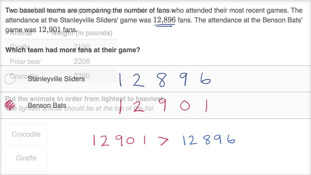 medium resolution of Comparing multi-digit whole numbers word problems (video)   Khan Academy