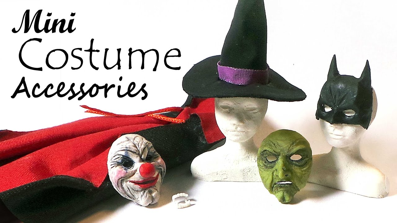 Doll u0026 Miniature Halloween Costume Accessories - Polymer Clay/Fabric - YouTube  sc 1 st  YouTube & Doll u0026 Miniature Halloween Costume Accessories - Polymer Clay/Fabric ...