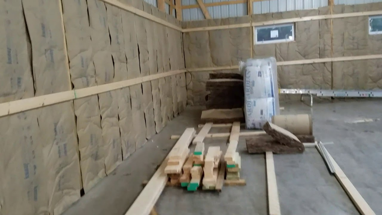Lower insulation and framing almost done in pole barn