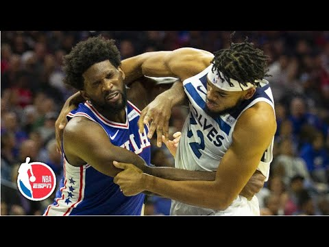 Joel Embiid and Karl-Anthony Towns fight, get ejected in Timberwolves vs. 76ers | NBA Highlights