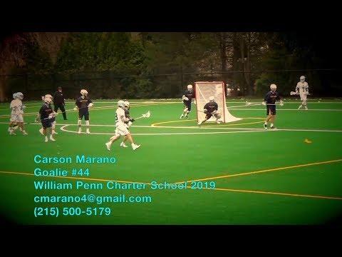 Carson Marano #44 - Goalie - William Penn Charter School 2019