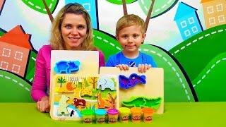 Зоопарк Плей До и Даник - Лепим животных из пластилина Play Doh Zoo Animals