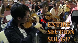 We made 10 orchestras do the Ling Ling workout!