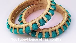 How To Make Thread Bangles//Thread beaded thread Bangles At Home..!