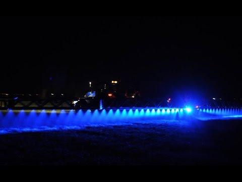 Blue Lights Comatra Kverneland Sprayer By Night Drone