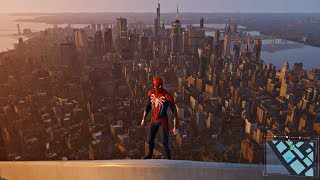 Spider-Man PS4 - Highest Building Climbing Up & Fall (Marvel