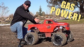 MAN and his GIANT TOY MONSTER TRUCK RiDE AGAIN! 49cc GAS POWER ENGINE | RC ADVENTURES