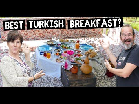 Eating the ULTIMATE Turkish Breakfast   Van Life Turkey