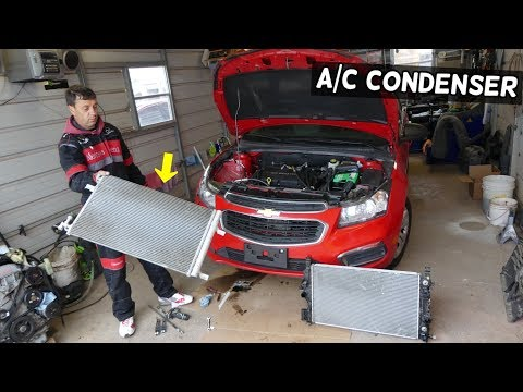 CHEVROLET CRUZE AC CONDENSER REPLACEMENT REMOVAL. CHEVY SONIC AC CONDENSER