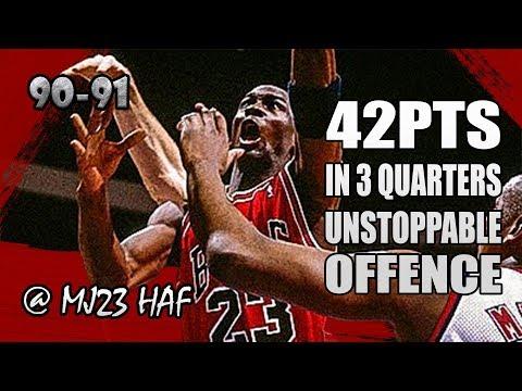 Michael Jordan Highlights vs Nets (1991.03.28) - 42pts in 3 Quarters, UNSTOPPABLE!