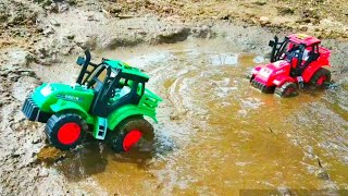 HMT Tractor Stuck in the mud and pulling out Swaraj, Double E,Excavator | Ammu kutty