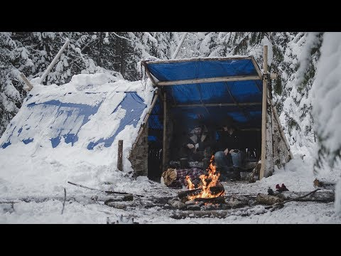Building the Shed's Bench in Snow - Building a Long-term Camp - Camp Firlend | Entry: 008