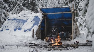 Building the Shed's Bench in Snow - Building a Long-term Camp   Entry: 008 - Camp Firlend