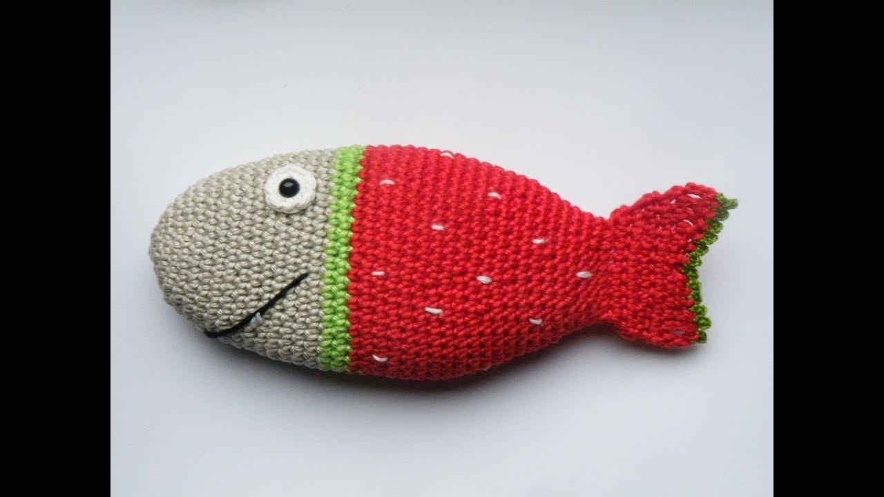 Gratisanleitung Häkelanleitung Für Einen Fisch Erdbeerfisch Youtube