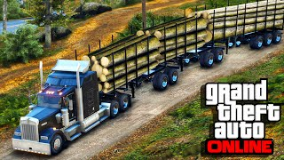 American Truck Simulator Multiplayer Mod in GTA 5 - Multi Log Trailer Heavy Haul!