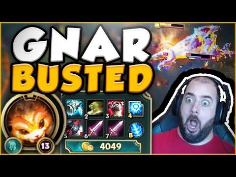 GNAR BROKEN? MASSIVE GNAR ULTS FOR FREE ELO! BEST BLIND PICK! GNAR TOP GAMEPLAY - League of Legends