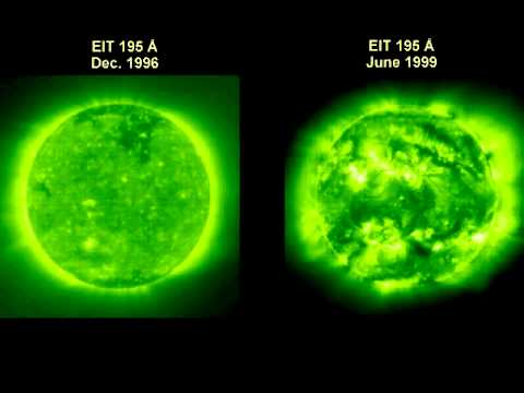 Two SOHO-EIT ultraviolet movies at different stages in the Sun's activity cycle.