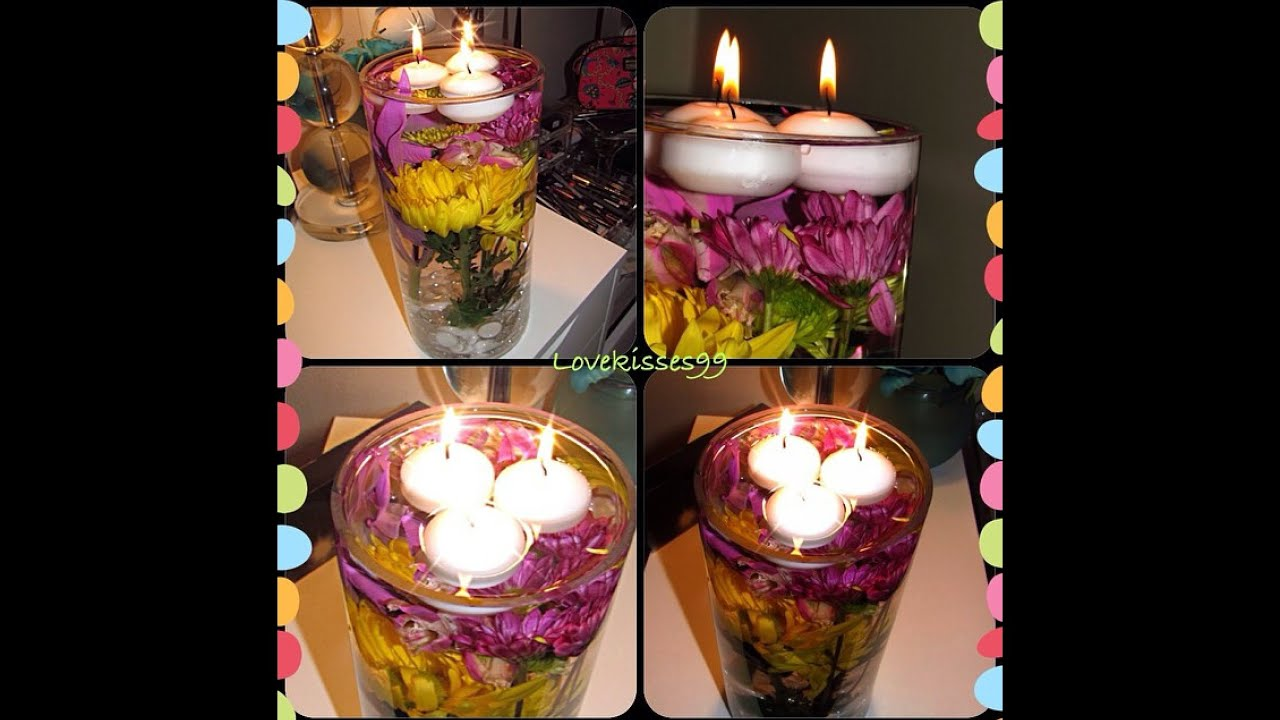 Diy flower centerpiece with floating tea lights youtube