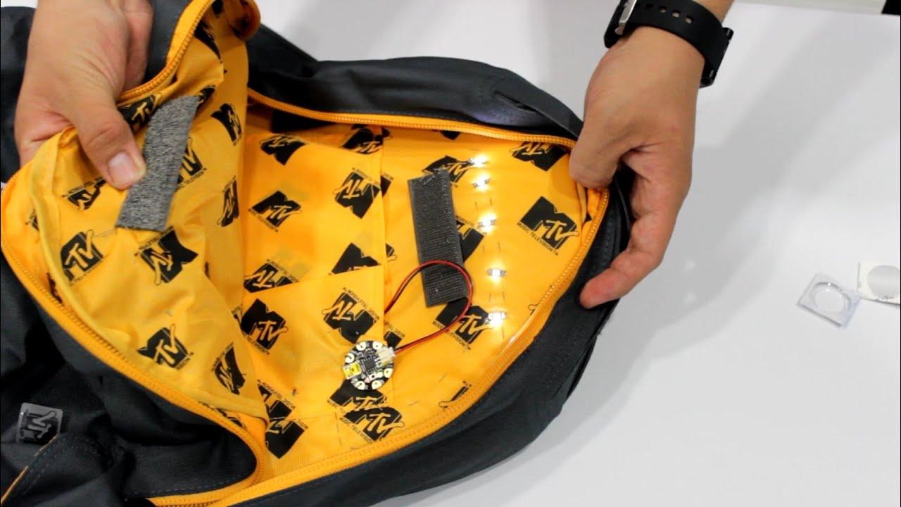 Como poner luz a tu mochila o bolsa tutoriales for Como colocar una mochila de inodoro