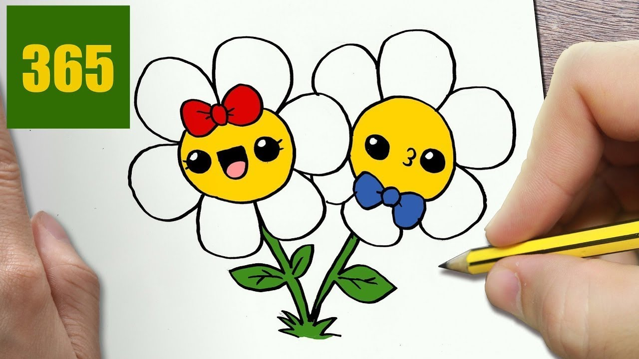 HOW TO DRAW A FLOWERS CUTE, Easy step by step drawing ...