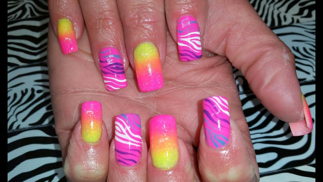 Acrylic Nails l Neon Ombre Zebra l Nail Design - YouTube