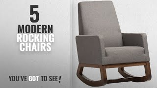Top 10 Modern Rocking Chairs [2018]: Baxton Studio Yashiya Mid Century Retro Modern Fabric