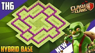 """BEST BASE"" TH6 HYBRID/TROPHY Base 2018!! COC Town Hall 6 (TH6) Hybrid Base Design - Clash of Clans"