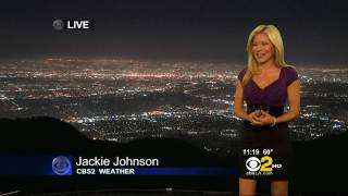 jackie johnson 2011 04 25 11pm cbs2 hd tight purple top black skirt cleavage leggy