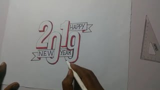 How To Draw Happy New Year 3d Stylish And coloring Art 2019 For Learner Kids Happy New Year 2019